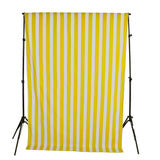 Cotton Stripe Window Curtain 58 Inch Wide 2 Inch Stripe Yellow and White