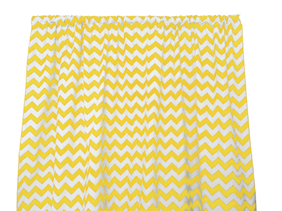 Cotton Zig-zag Chevron Window Curtain 58 Inch Wide Yellow