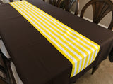 Cotton Print Table Runner 1 Inch Wide Stripes Yellow and White