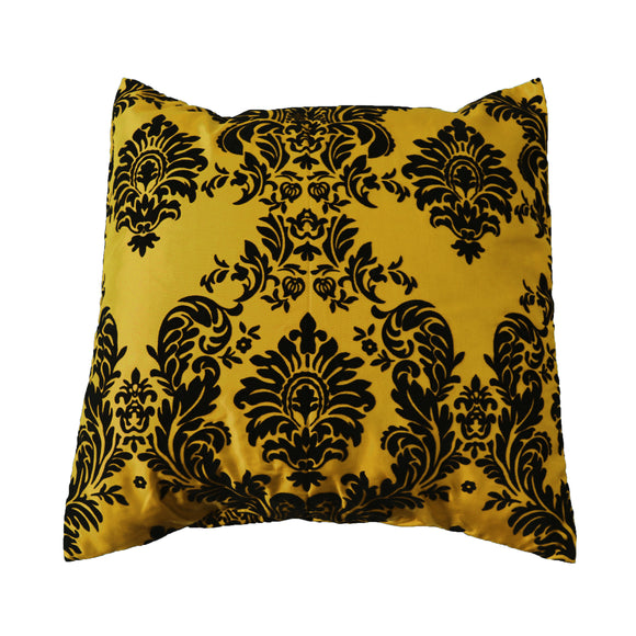 Flocked Damask Decorative Throw Pillow/Sham Cushion Cover Black on Yellow
