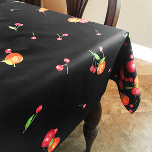 Cotton Apples and Cherries Tablecloth Black