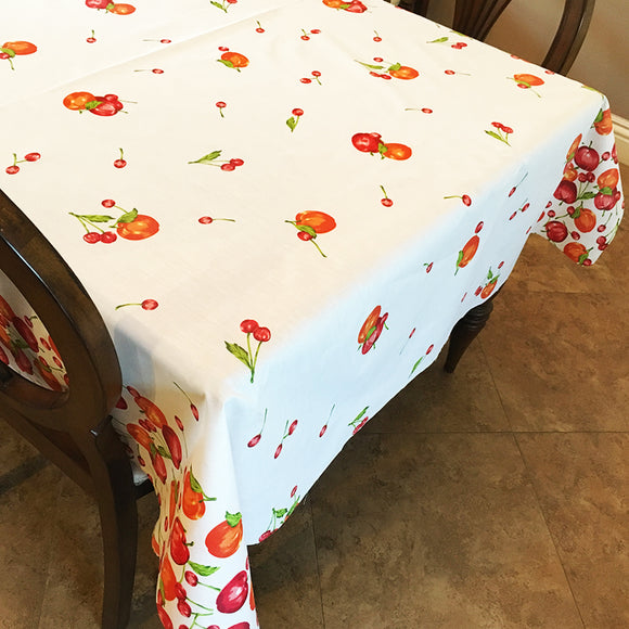 Cotton Apples and Cherries Tablecloth White