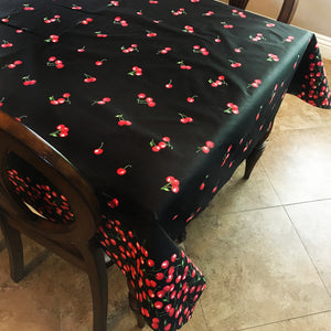 Cotton Big Cherries Tablecloth Black