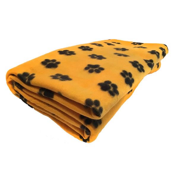 Fleece Blanket Paw Prints on Yellow
