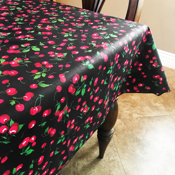Cotton Cherries Allover Tablecloth Black