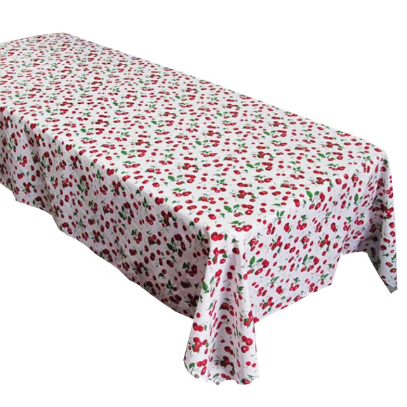 Cotton Cherries Allover Tablecloth White