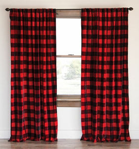 Poplin Buffalo Checkered Window Curtain 56 Inch Wide Black and Red