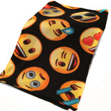 Fleece Blanket Emoji Faces Black