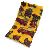 Fleece Blanket Fire Truck on Yellow