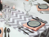 Cotton Print Table Runner Chevron Grey