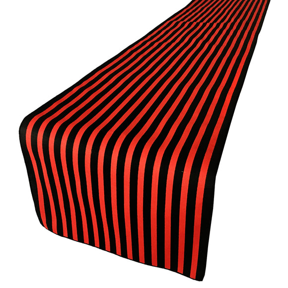 Cotton Print Table Runner Half Inch Wide Stripes Red and Black