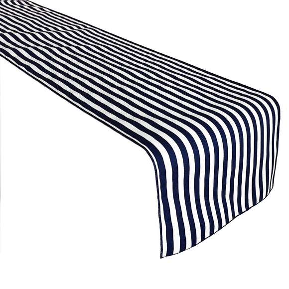 Cotton Print Table Runner Half Inch Wide Stripes Navy