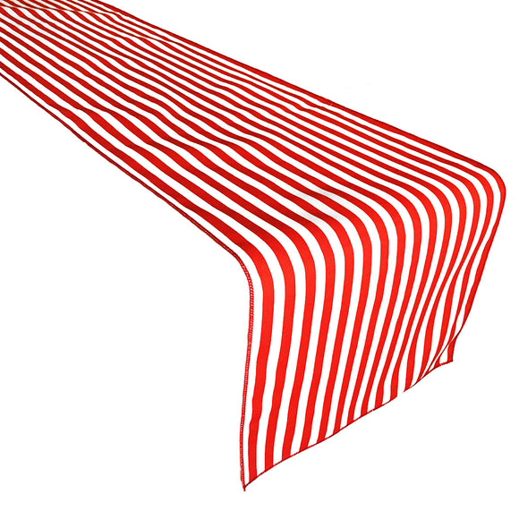Cotton Print Table Runner Half Inch Wide Stripes Red and White