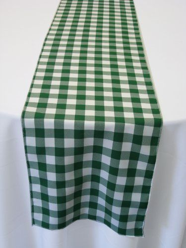 Poplin Table Runner Gingham Checkered Hunter Green