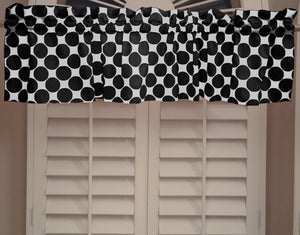 "Cotton Polka Dots Window Valance 58"" Wide Large Dots Black on White"