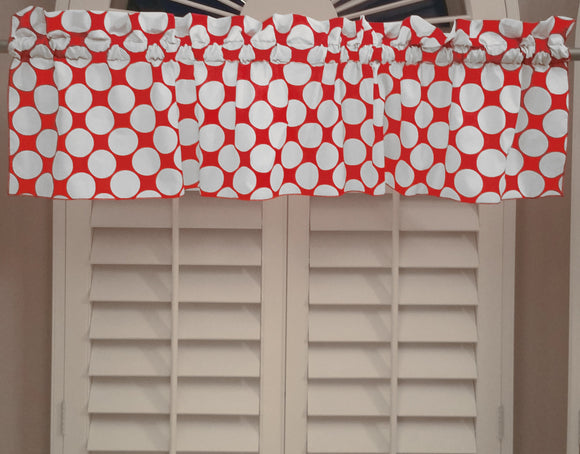 Cotton Window Valance Polka Dots Print 58 Inch Wide / Large Dots White on Red