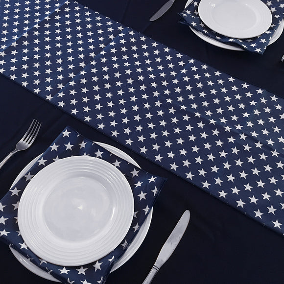 Table Set 4th of July Decor includes 1 Navy Polyester Tablecloth, a Pack of Navy Star Napkins, and 1 Navy Star Runner