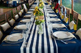 Cotton Print Table Runner 1 Inch Wide Stripes Navy