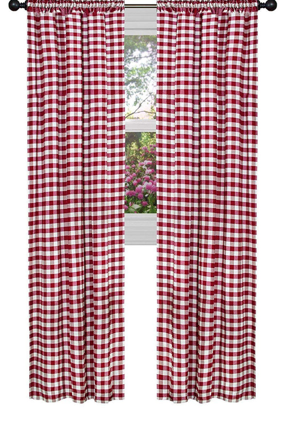 Poplin Gingham Checkered Window Curtain 56 Inch Wide Dark Red
