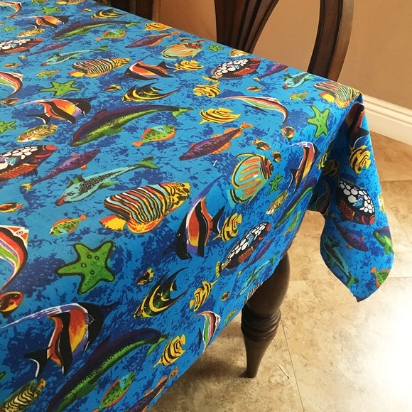 Cotton Under the Sea Tablecloth Blue