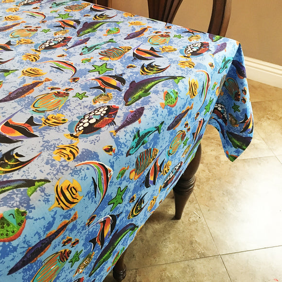 Cotton Under the Sea Tablecloth Light Blue