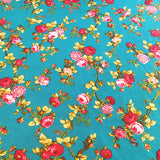 Cotton Vintage Floral Tablecloth Teal Blue