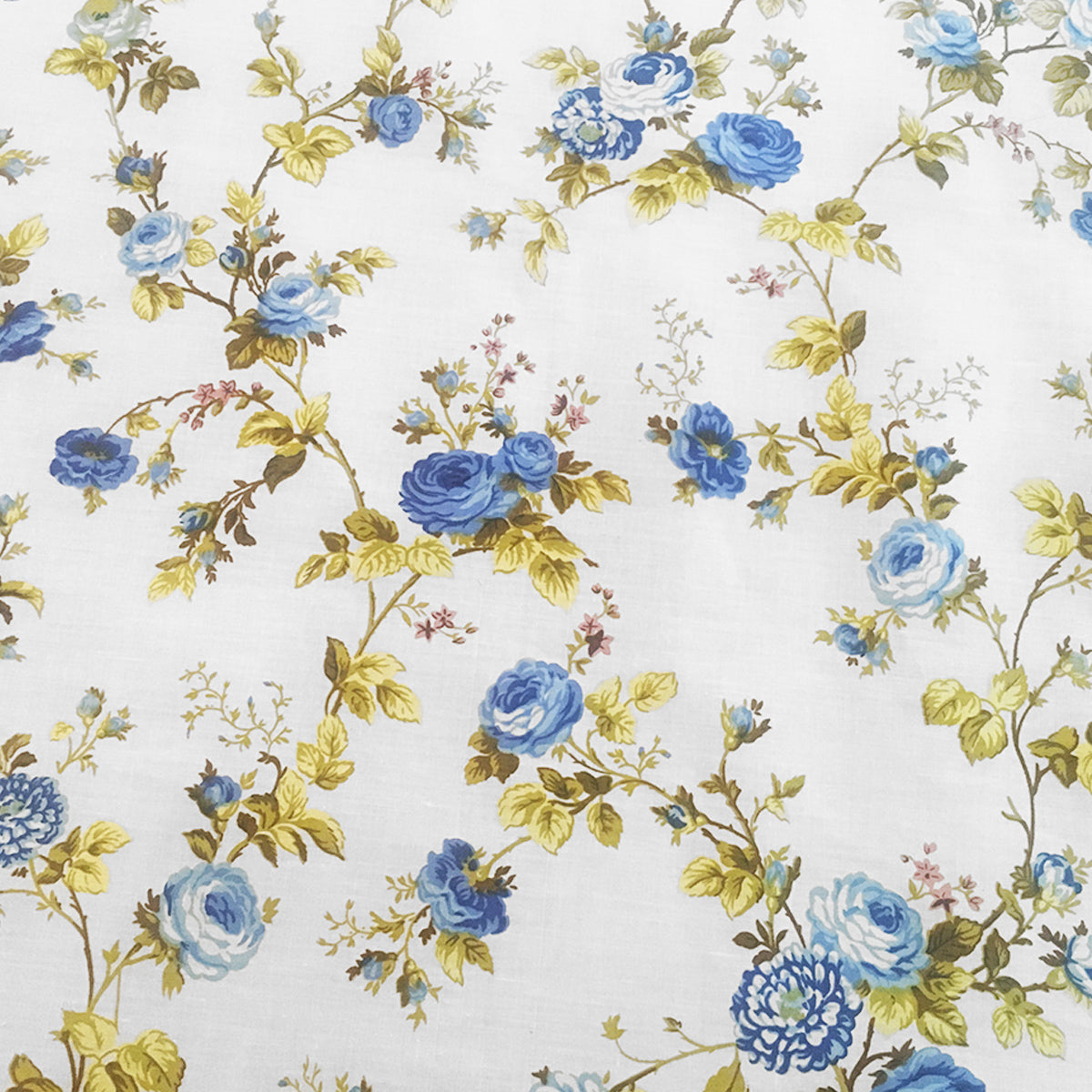 Cotton Vintage Floral Tablecloth Blue On White Lovemyfabric