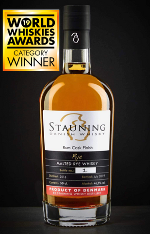 Stauning Rye Whisky with belize rum cask finish awarded as best danish rye 2019