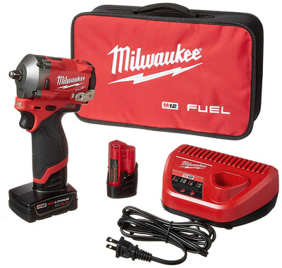 Milwaukee® M12™ FUEL™ 3/8 in. Stubby Impact Wrench w/ (2) Batteries Kit