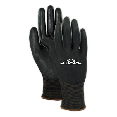 Magid ROC BP169 Palm Coated Gloves, Black, Size 9 Large (12-Pair)