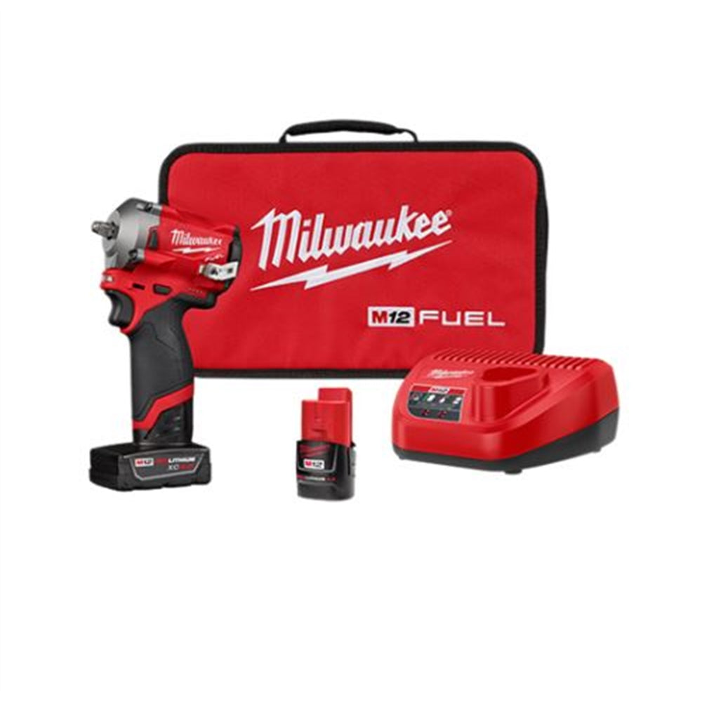 "Milwaukee® M12 FUEL 3/8"" Stubby Impact Wrench w/ (2) Batteries Kit"