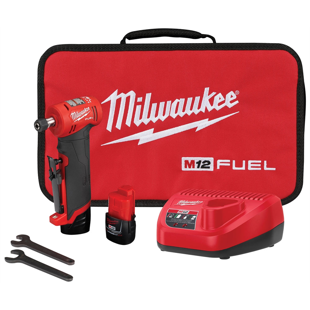Milwaukee® M12 FUEL™ Right Angle Die Grinder 2 Battery Kit