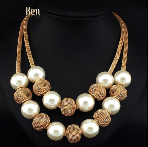 Double Layer Pearl Metal Ball Necklace