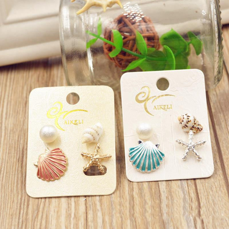 Beach Shell Stud Earrings Set