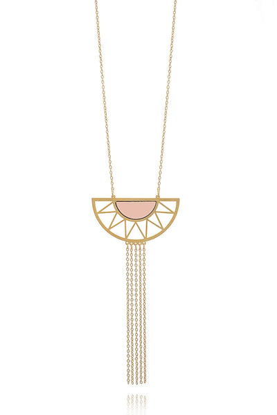 Collier long doré Summer com 5 - rose