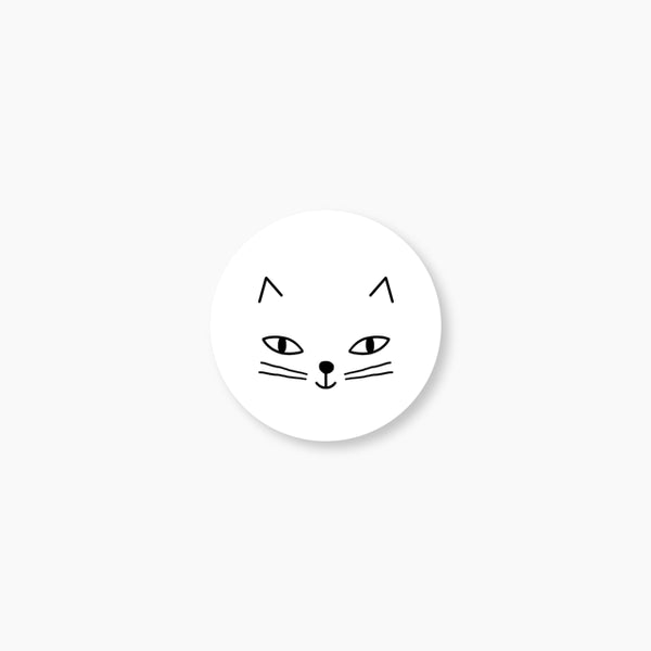 Badge Chat blanc
