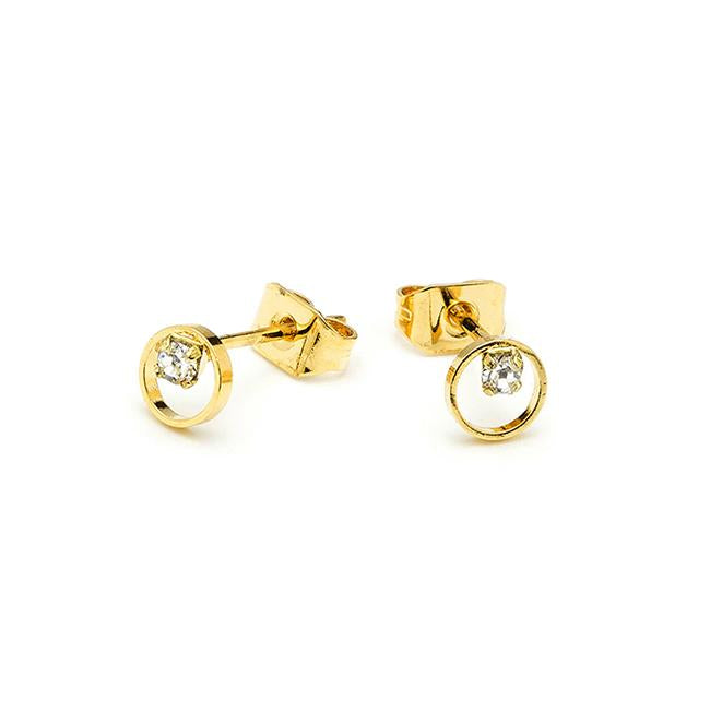 Boucles d'oreilles clous - Shadow Or Jaune - Cristal