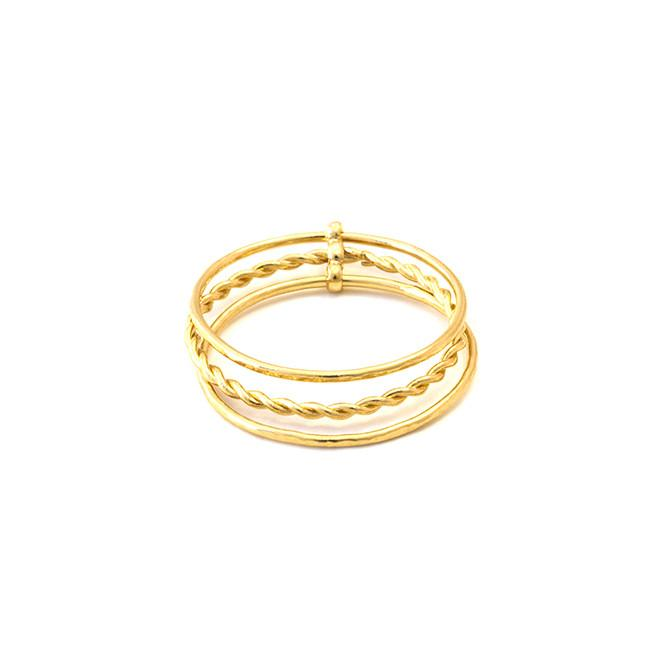 Bague Hindi Torsadée Twisted - Or Jaune