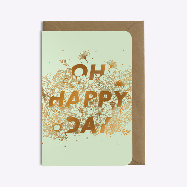 Carte Oh Happy Day - Vert d'eau