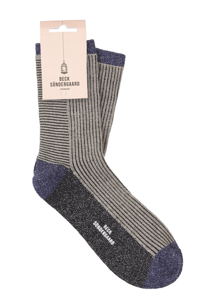 Chaussettes Dina Striped - Gris opale