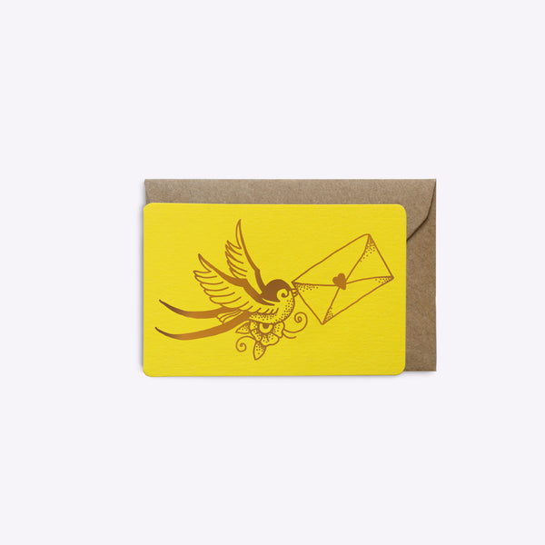 Mini carte Love Letter - Jaune intense