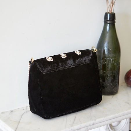 Sac Velours Strass Cookie Noir