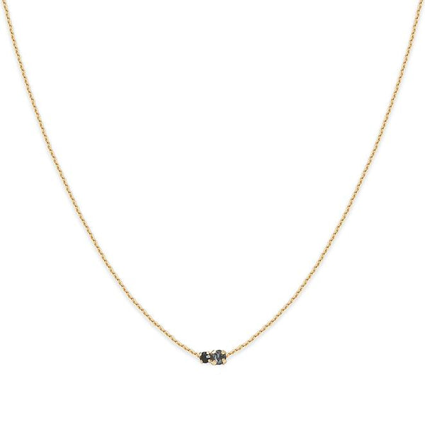 Collier Amants court - Silver night / Jet