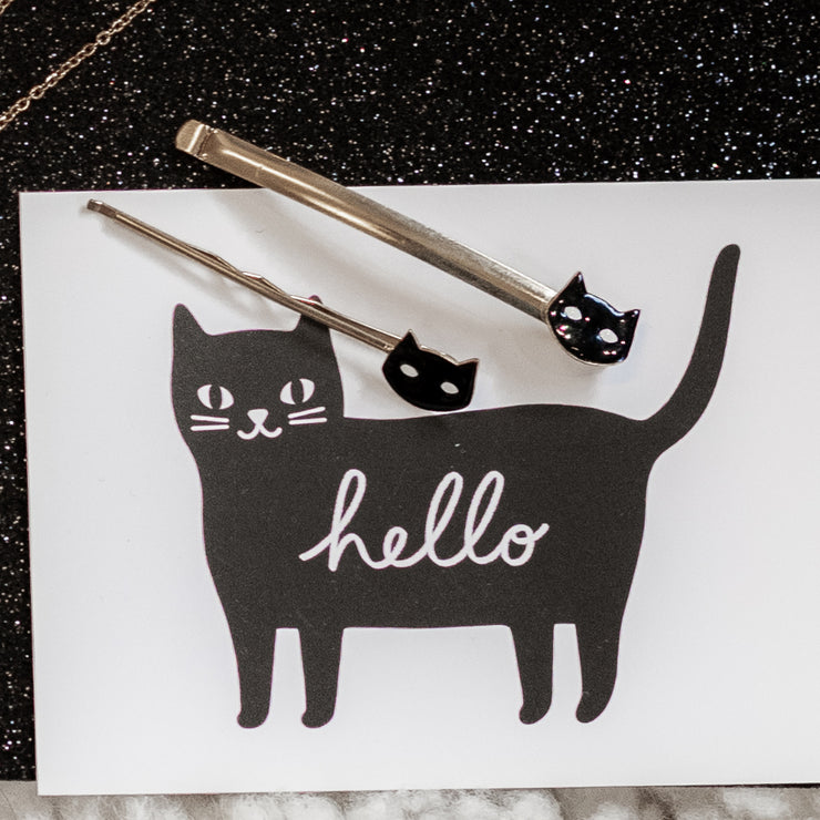 Barrette large chat noir