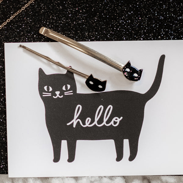 Barrette fine chat noir