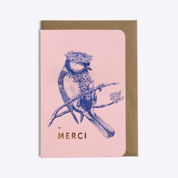 Carte Merci flower power - Rose