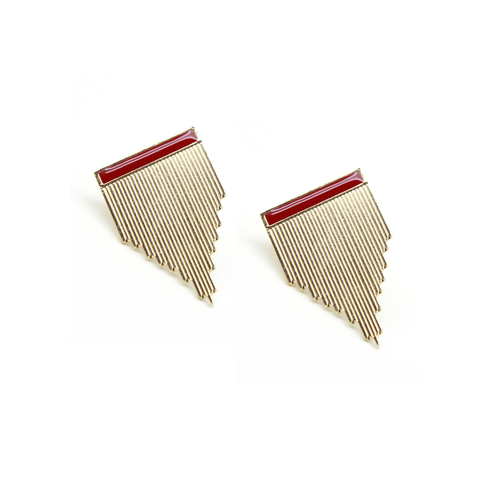 Boucles clous STRIPE - rouge Frida