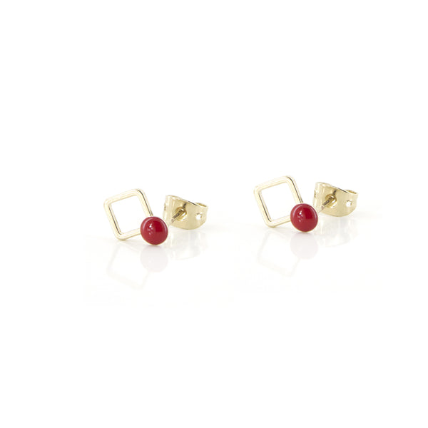 Boucles clous MENPHIS - rouge Frida