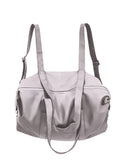 Unisex Large Grey Leather Diaper Backpack Purse