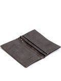 Textured Snake Design Dark Grey Leather Slim Wallet